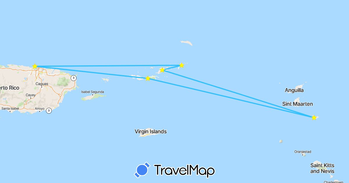 TravelMap itinerary: driving, boat in France, United States, British Virgin Islands (Europe, North America)